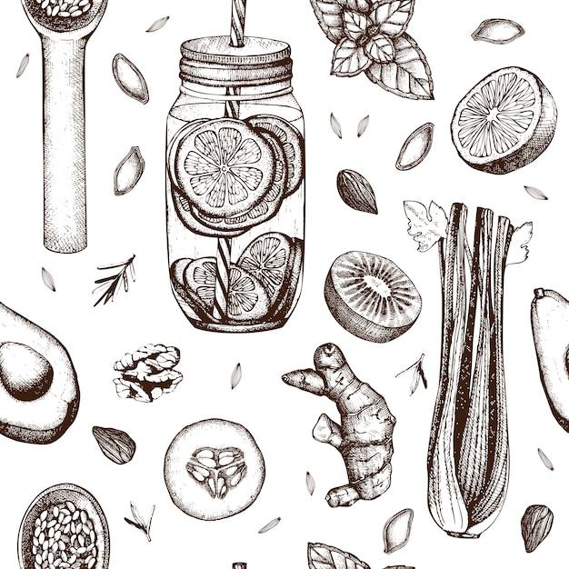 Padrão sem emenda com tinta mão desenhada comida saudável e bebidas esboços. fundo vintage cenário de dieta de verão Vetor Premium