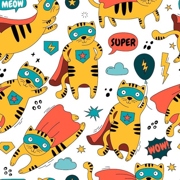 Padrão sem emenda com um gato em uma ilustração de fantasia de super-herói Vetor Premium