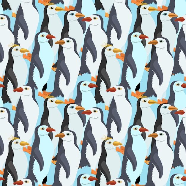 Padrão sem emenda com um pinguim-imperador muitos Vetor Premium