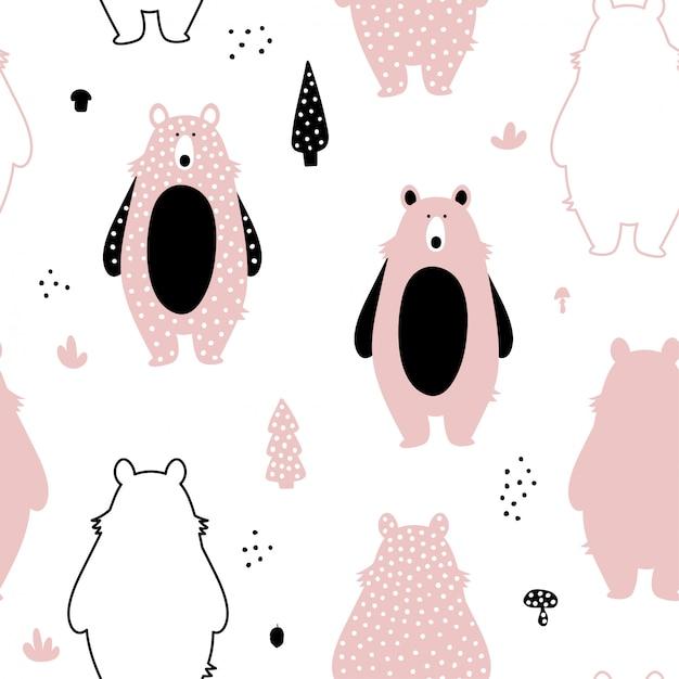 Padrão sem emenda com ursos rosa fofos. Vetor Premium