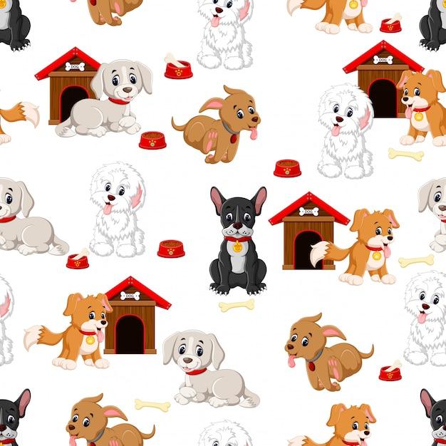 Padrão sem emenda com vários cães fofos Vetor Premium