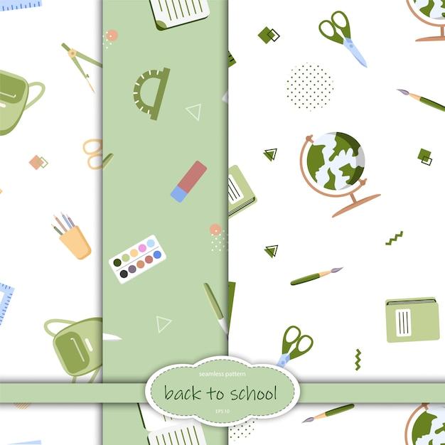 Padrão sem emenda com vários materiais escolares, sobre um fundo branco. ilustração em estilo simples. Vetor Premium
