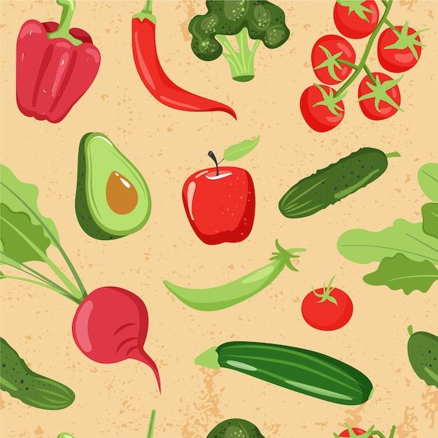 Padrão sem emenda com vegetais diferentes Vetor Premium