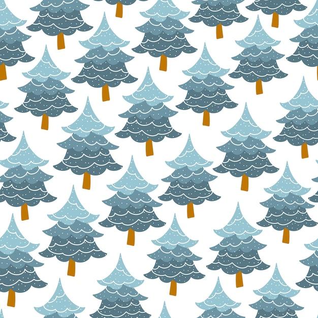 Padrão sem emenda da árvore de natal. floresta de pinheiros. Vetor Premium