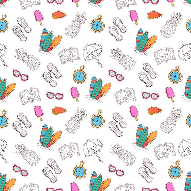 Padrão sem emenda da mão desenhada ou doodle elementos de verão Vetor Premium