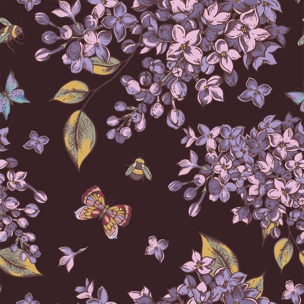 Padrão sem emenda da primavera vintage com flores desabrochando de lilás Vetor Premium