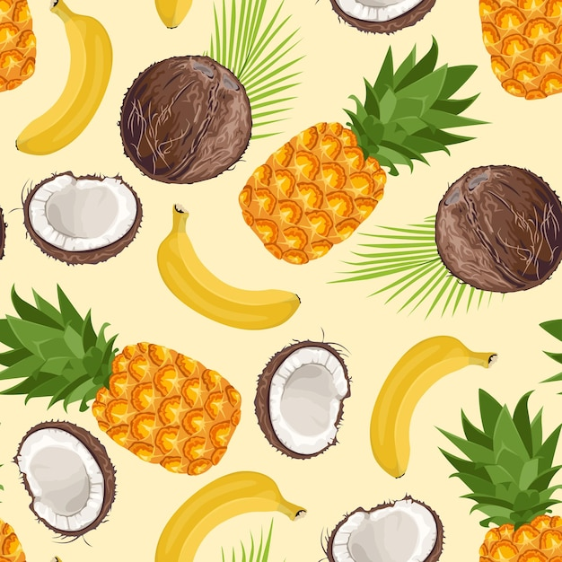 Padrão sem emenda de abacaxi, banana e coco. Vetor Premium