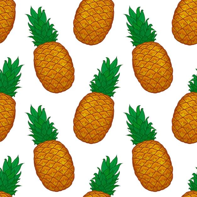 Padrão sem emenda de abacaxi colorido desenhado à mão Vetor Premium
