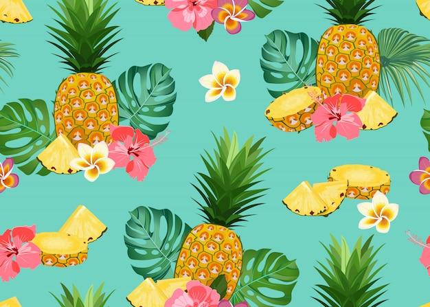 Padrão sem emenda de abacaxi com flor Vetor Premium