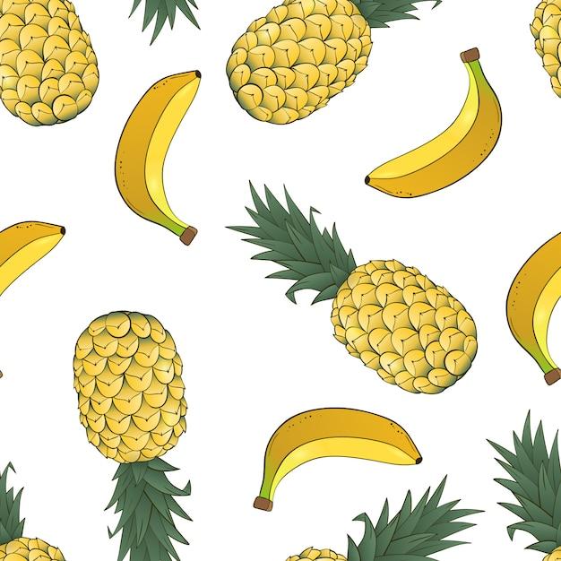 Padrão sem emenda de abacaxi e banana em branco Vetor Premium
