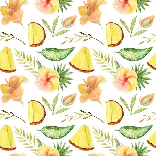 Padrão sem emenda de abacaxi fatiado em aquarela e plantas verdes tropicais e folhas, pintados à mão ilustração isolada Vetor Premium