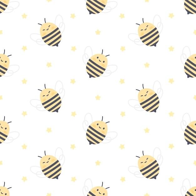 Padrão sem emenda de abelha e estrelas fofa Vetor Premium
