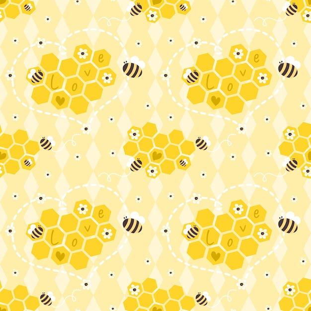 Padrão sem emenda de abelhas e favos de mel Vetor Premium