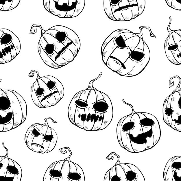 Padrão sem emenda de abóbora de halloween engraçado com estilo mão desenhada Vetor Premium
