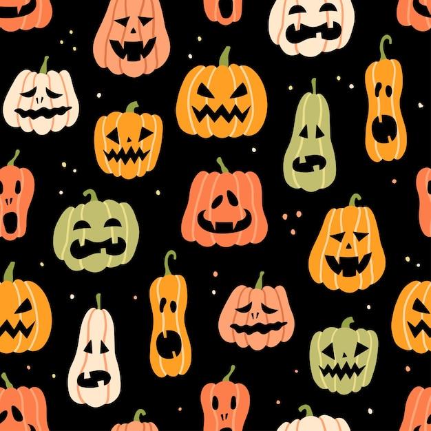 Padrão sem emenda de abóbora de halloween. ilustração desenhada à mão em fundo preto Vetor Premium