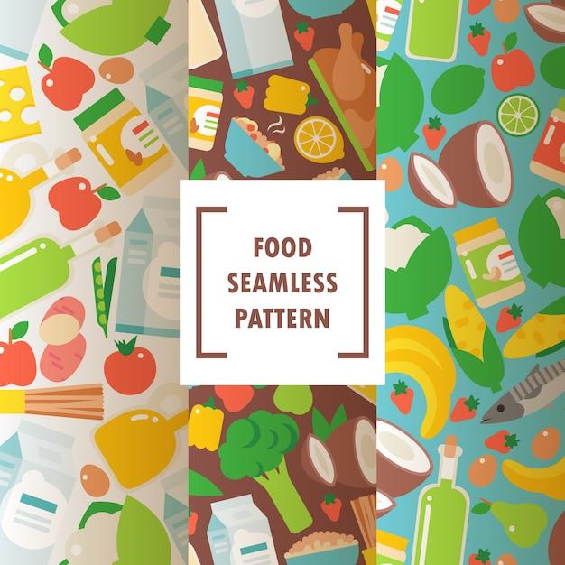 Padrão sem emenda de alimentos orgânicos saudáveis Vetor Premium