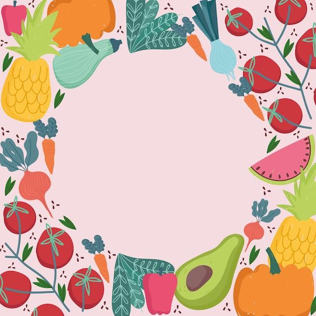 Padrão sem emenda de alimentos redondo ilustração de frutas e legumes frescos Vetor Premium