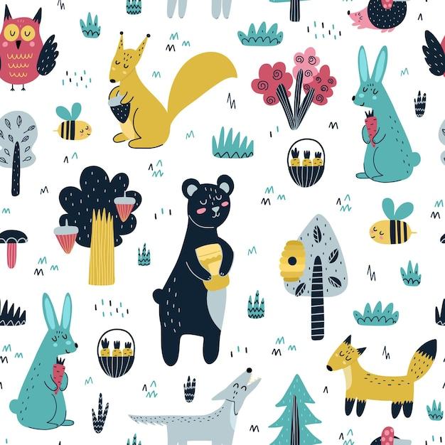 Padrão sem emenda de animais fofos da floresta. floresta com urso, raposa, esquilo, lobo, coelho, ouriço, coruja e abelha. design escandinavo. Vetor Premium