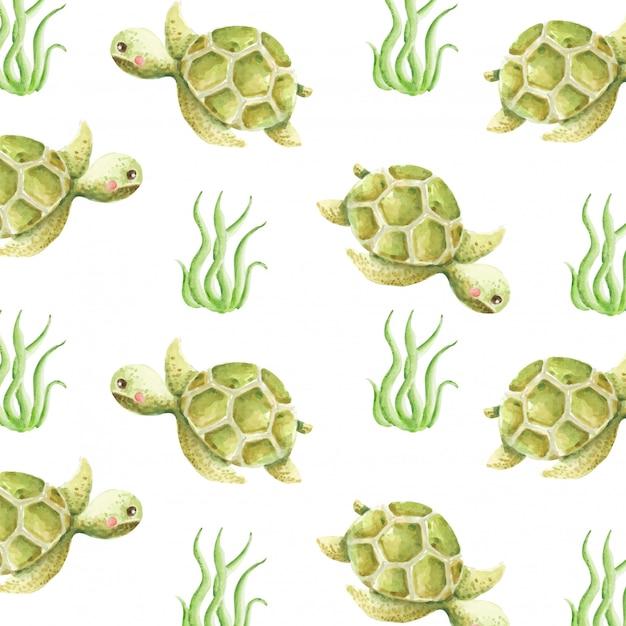 Padrão sem emenda de aquarela tartaruga fofa Vetor Premium