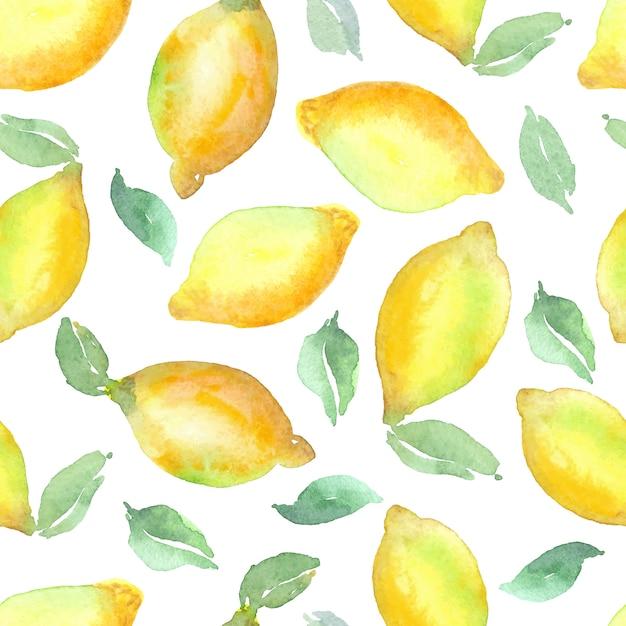 Padrão sem emenda de aquarela vector limão Vetor Premium