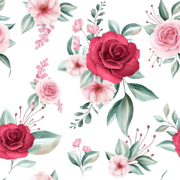 Padrão sem emenda de arranjos de flores em aquarela colorida sobre fundo branco para moda Vetor Premium