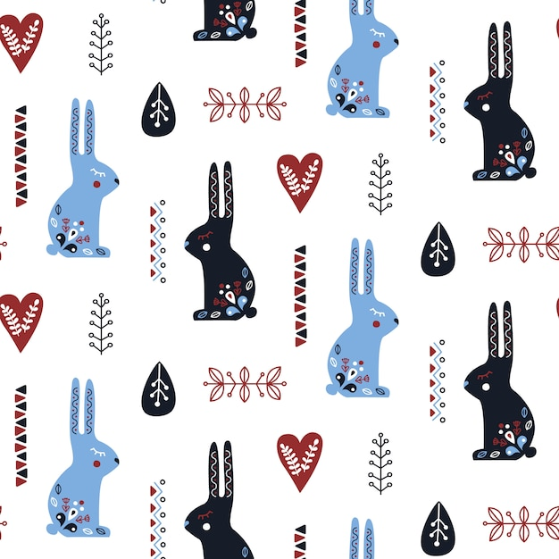 Padrão sem emenda de arte popular com coelho. Vetor Premium