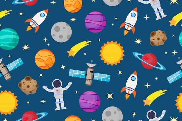 Padrão sem emenda de astronautas e planeta no espaço Vetor Premium