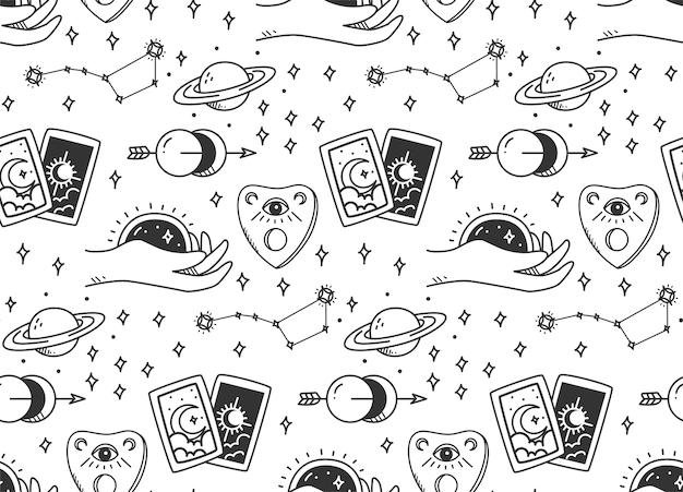 Padrão sem emenda de astronomia mística desenhada à mão Vetor Premium