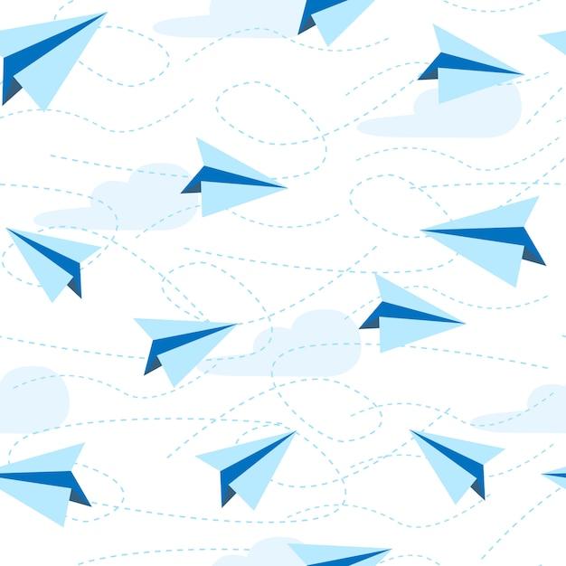 Padrão sem emenda de aviões de papel. avião de papel Vetor Premium