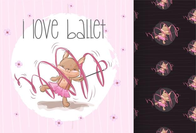 Padrão sem emenda de bailarina esquilo fofo pertty Vetor Premium