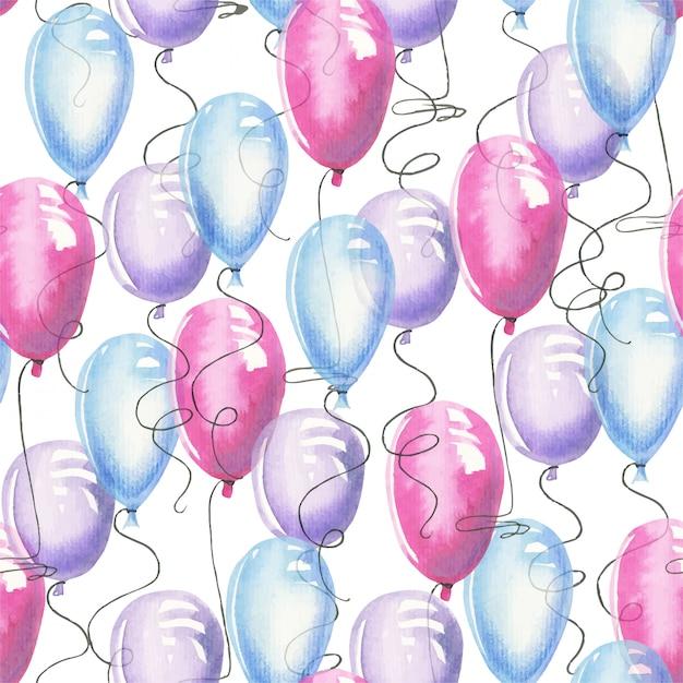 Padrão sem emenda de ballons de ar aquarela Vetor Premium
