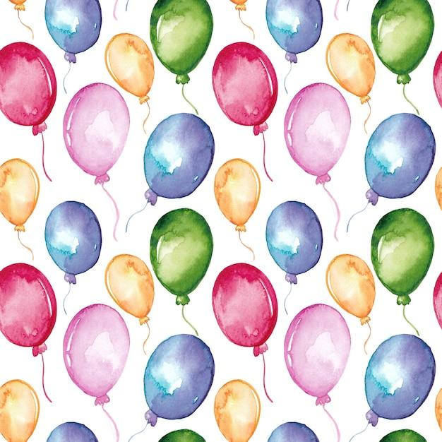 Padrão sem emenda de balões coloridos em aquarela Vetor Premium