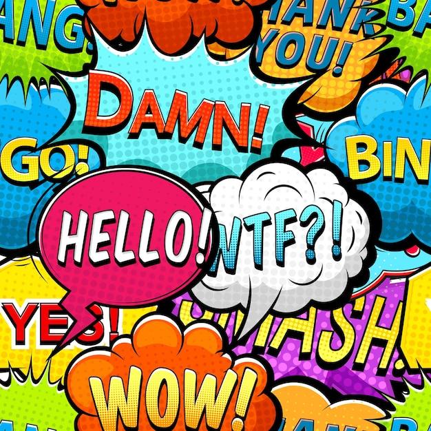 Padrão sem emenda de balões de fala em quadrinhos multicoloridos Vetor Premium