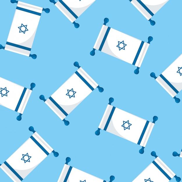 Padrão sem emenda de bandeiras patriótica de israel Vetor Premium