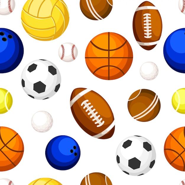 Padrão sem emenda de bolas esportivas, basquete, tênis, voleibol, rugby, futebol, boliche, ilustração na página do site e no aplicativo móvel com fundo branco Vetor Premium
