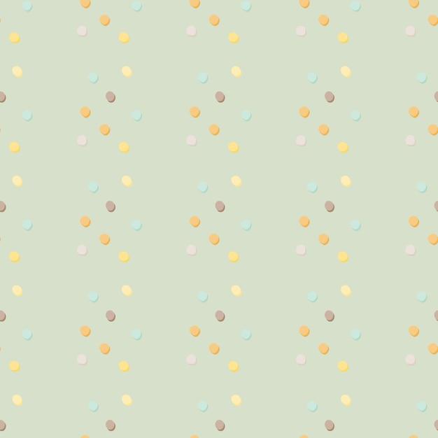 Padrão sem emenda de bolinhas geométricas abstratas. pontos amarelos, azuis, laranja, lilás em fundo azul claro. cenário decorativo para tecido, impressão têxtil, embalagem, capa. ilustração. Vetor Premium