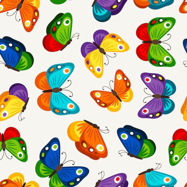 Padrão sem emenda de borboleta de crianças. vector moda borboletas papel de parede para criança Vetor Premium