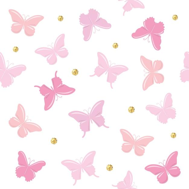 Padrão sem emenda de borboletas. girly. Vetor Premium