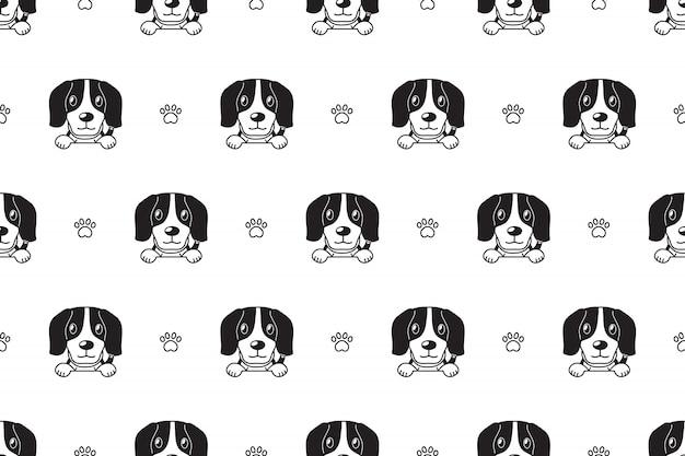 Padrão sem emenda de cachorro beagle Vetor Premium