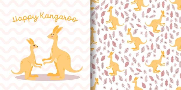 Padrão sem emenda de canguru bonito com cartão de chuveiro de bebê de desenhos animados de ilustração Vetor Premium
