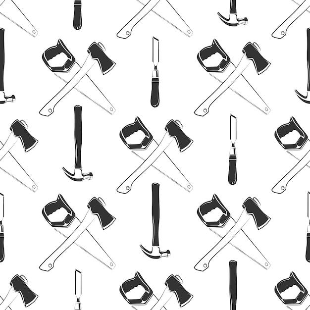 padrão sem emenda de carpintaria com martelo baixar vetores premium