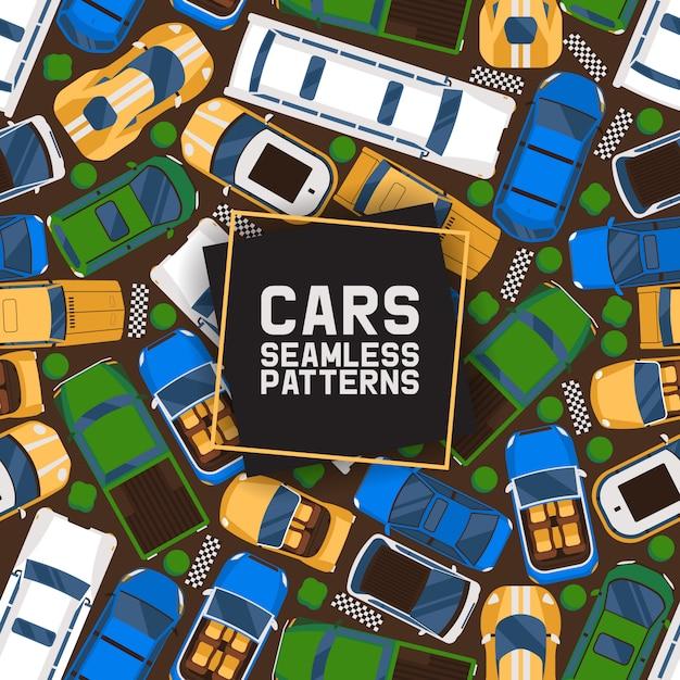 Padrão sem emenda de carros. carro, transporte, transporte, transferência. serviço público. carro esportivo de luxo, esportivo, conversível, limusine. Vetor Premium