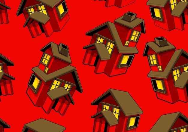 Padrão sem emenda de casa vermelha e fundo vermelho. Vetor Premium