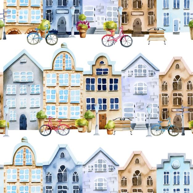 Padrão sem emenda de casas escandinavas em aquarela rua Vetor Premium