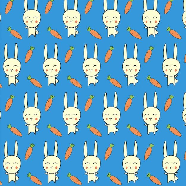 Padrão sem emenda de cenoura coelho azul Vetor Premium