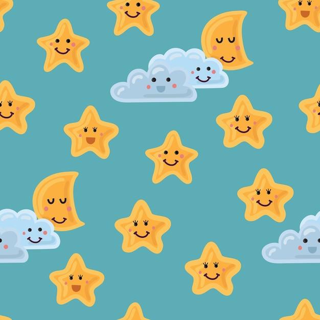 Padrão sem emenda de céu noturno em. estrelas fofas. lua e nuvem com rostos sorridentes Vetor Premium