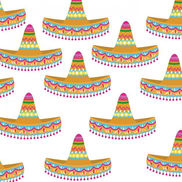Padrão sem emenda de chapéu mexicano Vetor Premium