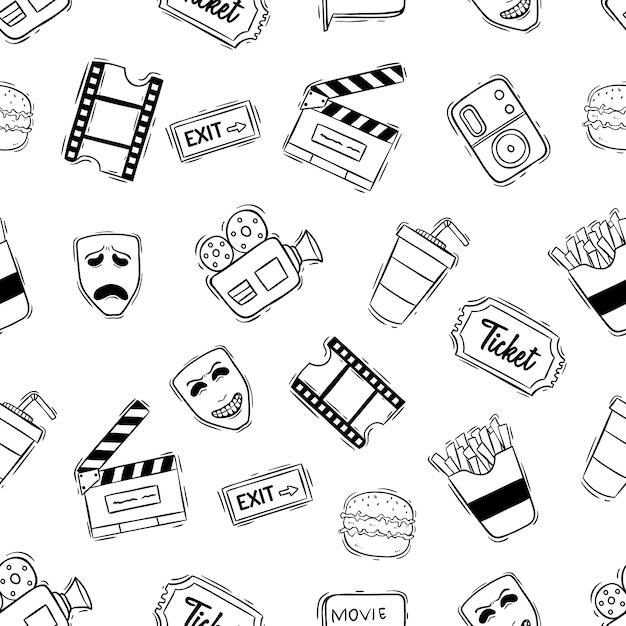 Padrão sem emenda de cinema com estilo doodle Vetor Premium