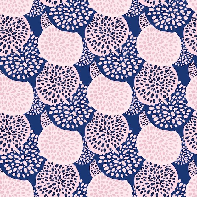 Padrão sem emenda de círculos de pontos aleatórios de contraste. pano de fundo infinito com ornamentos geométricos rosa e azul. Vetor Premium