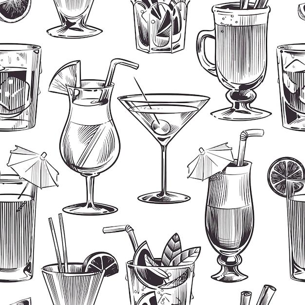 Padrão sem emenda de cocktail. coquetéis de mão desenhada e bebidas alcoólicas com diferentes copos de vinho, menu de bar. ilustração de textura Vetor Premium